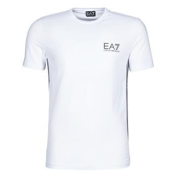 tekstylia Męskie T-shirty z krótkim rękawem Emporio Armani EA7 TRAIN LOGO SERIES M TAPE TEE ST Biały