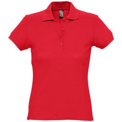 tekstylia Damskie Koszulki polo z krótkim rękawem Sols PASSION WOMEN COLORS Rojo