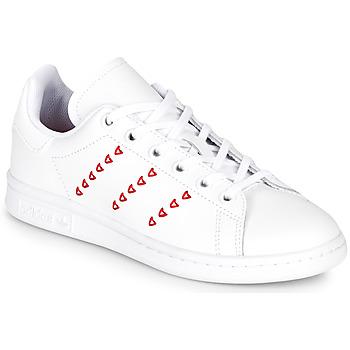 Buty Dziewczynka Trampki niskie adidas Originals STAN SMITH J Biały / Czerwony / Cur