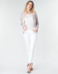 tekstylia Damskie Jeansy skinny Le Temps des Cerises KIEV SKINY7/8 Biały