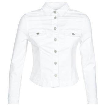 tekstylia Damskie Kurtki jeansowe Le Temps des Cerises LILLY Biały