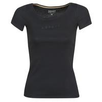 tekstylia Damskie T-shirty z krótkim rękawem Esprit T-Shirts logo Czarny