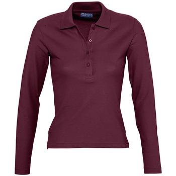 tekstylia Damskie Koszulki polo z długim rękawem Sols PODIUM COLORS Violeta
