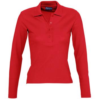 tekstylia Damskie Koszulki polo z długim rękawem Sols PODIUM COLORS Rojo
