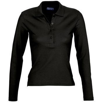 tekstylia Damskie Koszulki polo z długim rękawem Sols PODIUM COLORS Negro