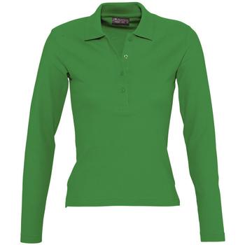 tekstylia Damskie Koszulki polo z długim rękawem Sols PODIUM COLORS Verde
