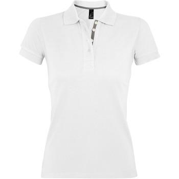 tekstylia Damskie Koszulki polo z krótkim rękawem Sols PORTLAND MODERN SPORT Blanco
