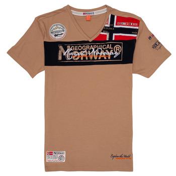 tekstylia Chłopiec T-shirty z krótkim rękawem Geographical Norway JIDNEY Beżowy