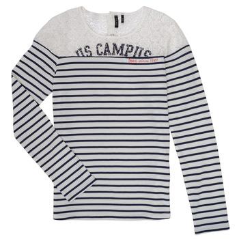 tekstylia Dziewczynka T-shirty z długim rękawem Ikks DELLYSE Biały / Czarny