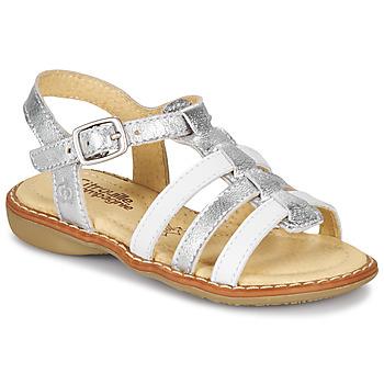 Buty Dziewczynka Sandały Citrouille et Compagnie GROUFLA Srebrny / Biały