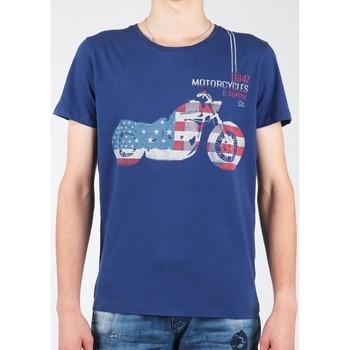 tekstylia Męskie T-shirty z krótkim rękawem Wrangler T-shirt  S/S Biker Flag Tee W7A53FK 1F granatowy