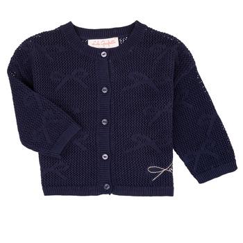 tekstylia Dziewczynka Swetry rozpinane / Kardigany Lili Gaufrette CETELIA Marine