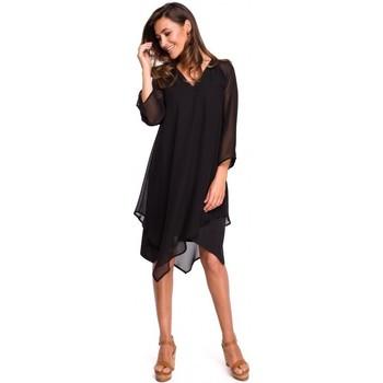 tekstylia Damskie Sukienki Be B126 Sukienka tunika bez rękawów Czarny