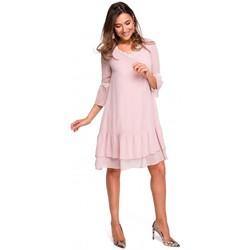 tekstylia Damskie Sukienki długie Be B126 Sukienka tunika bez rękawów Karmelowy