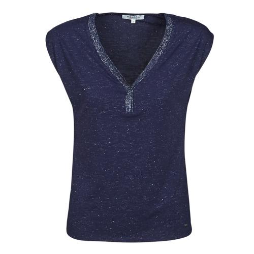 tekstylia Damskie T-shirty z krótkim rękawem Morgan DMAYA Marine