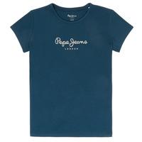 tekstylia Dziewczynka T-shirty z krótkim rękawem Pepe jeans HANA GLITTER Marine
