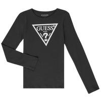 tekstylia Dziewczynka T-shirty z długim rękawem Guess GARICE Czarny