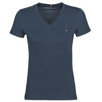 tekstylia Damskie T-shirty z krótkim rękawem Tommy Hilfiger HERITAGE V-NECK TEE Marine