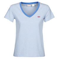 tekstylia Damskie T-shirty z krótkim rękawem Levi's PERFECT VNECK Biały / Niebieski