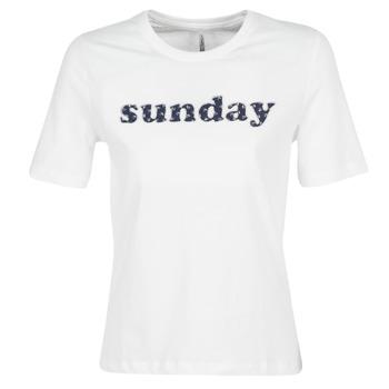 tekstylia Damskie T-shirty z krótkim rękawem Only ONLSANNE Biały