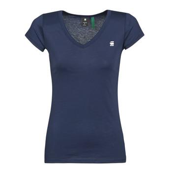 tekstylia Damskie T-shirty z krótkim rękawem G-Star Raw EYBEN SLIM V T WMN SS Niebieski