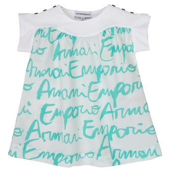tekstylia Dziewczynka T-shirty z krótkim rękawem Emporio Armani Anas Biały / Niebieski