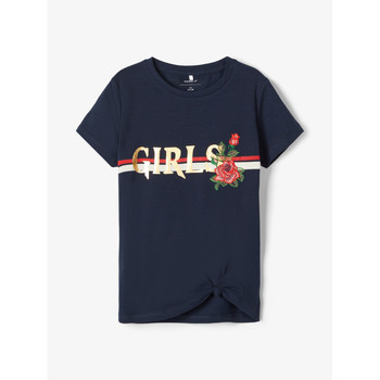 tekstylia Dziewczynka T-shirty z krótkim rękawem Name it NKFBARBRA Marine
