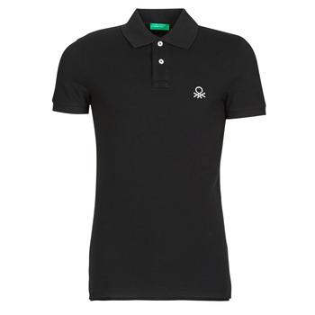 tekstylia Męskie Koszulki polo z krótkim rękawem Benetton  Czarny