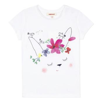 tekstylia Dziewczynka T-shirty z krótkim rękawem Catimini MAE Biały