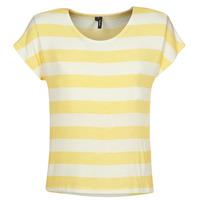 tekstylia Damskie T-shirty z krótkim rękawem Vero Moda  Żółty / Biały