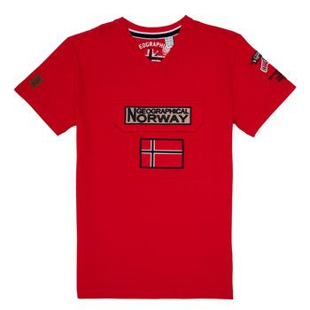 tekstylia Chłopiec T-shirty z krótkim rękawem Geographical Norway JIRI Czerwony