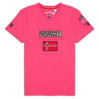 tekstylia Chłopiec T-shirty z krótkim rękawem Geographical Norway JIRI Różowy