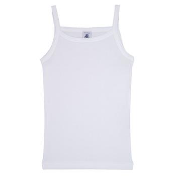 tekstylia Dziewczynka Topy na ramiączkach / T-shirty bez rękawów Petit Bateau 53295 Biały