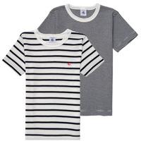 tekstylia Chłopiec T-shirty z krótkim rękawem Petit Bateau 53333 Biały / Niebieski