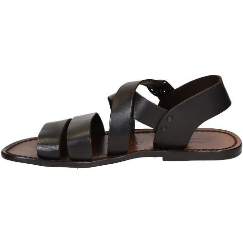 Gianluca - L'artigiano Del Cuoio 508 U Moro Brązowy Buty Sandały Meskie 41867 Najniższa Cena
