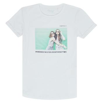tekstylia Dziewczynka T-shirty z krótkim rękawem Esprit ELISH Biały