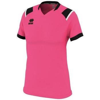 tekstylia Damskie T-shirty z krótkim rękawem Errea Maillot femme  lenny vert/noir/blanc