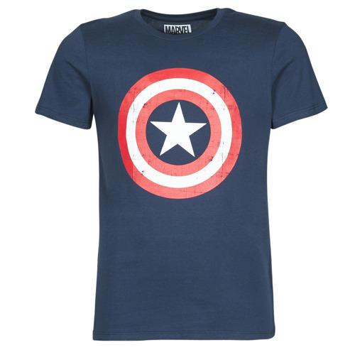 tekstylia Męskie T-shirty z krótkim rękawem Yurban CAPTAIN AMERICA LOGO Marine