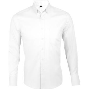 tekstylia Męskie Koszule z długim rękawem Sols BUSINESS MEN Blanco