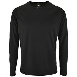 tekstylia Męskie T-shirty z długim rękawem Sols SPORT LSL MEN Negro