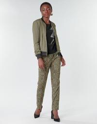 tekstylia Damskie Spodnie z lejącej tkaniny / Alladynki Ikks BR22005 Kaki