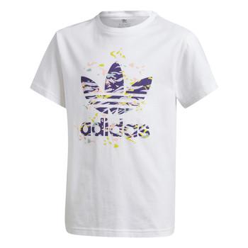 tekstylia Dziewczynka T-shirty z krótkim rękawem adidas Originals TREF TEE Biały