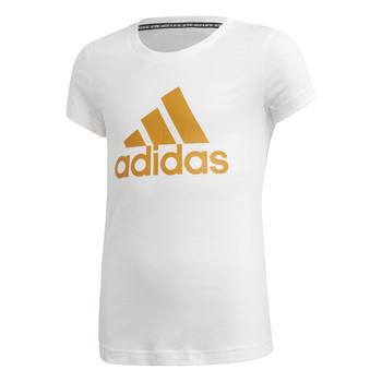 tekstylia Dziewczynka T-shirty z krótkim rękawem adidas Performance YG MH BOS TEE Biały
