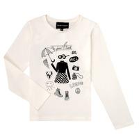 tekstylia Dziewczynka T-shirty z długim rękawem Emporio Armani 6H3T01-3J2IZ-0101 Biały
