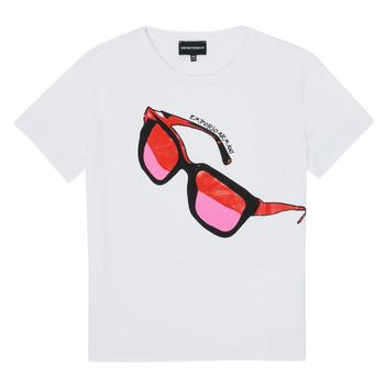 tekstylia Dziewczynka T-shirty z krótkim rękawem Emporio Armani 6H3T7T-3J2IZ-0100 Biały