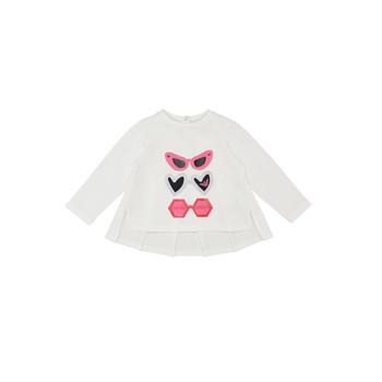 tekstylia Dziewczynka T-shirty z długim rękawem Emporio Armani 6HEM01-3J2IZ-0101 Biały