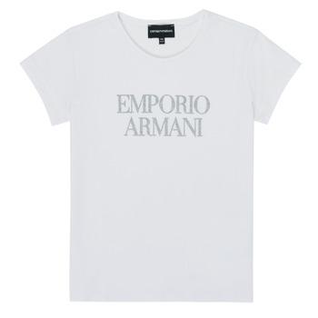 tekstylia Dziewczynka T-shirty z krótkim rękawem Emporio Armani 8N3T03-3J08Z-0100 Biały