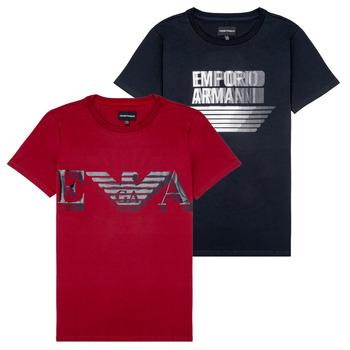 tekstylia Chłopiec T-shirty z krótkim rękawem Emporio Armani 6H4D22-4J09Z-0353 Czarny / Czerwony