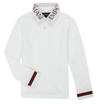 tekstylia Chłopiec Koszulki polo z długim rękawem Emporio Armani 6H4FJ4-1J0SZ-0101 Biały