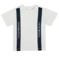 tekstylia Chłopiec T-shirty z krótkim rękawem Emporio Armani 6HHTG4-1JTUZ-0101 Biały